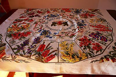 1960s NEW WESTERN AUSTRALIA WILD FLOWERS VINTAGE TABLECLOTH.