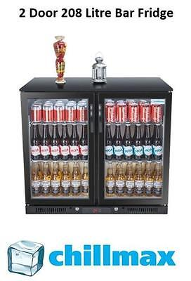 NEW 2016 Chillmax Bar Beer Wine Fridge 2 Door Glass BLACK 208L Under Counter