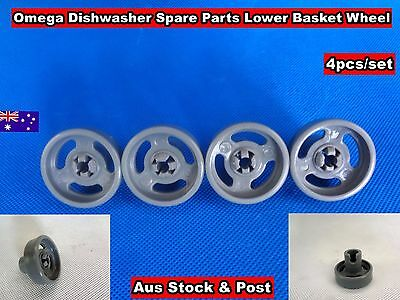 Omega Dishwasher Spare Parts Lower Basket Wheel  4pcs/set Grey (D24) Brand New