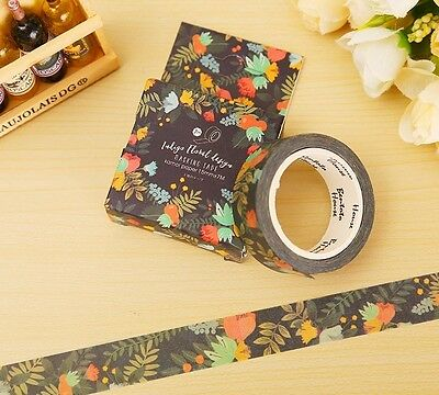 7 m Black with Colourful Flower Print Washi Tape Scrapbooking Paper Craft 1.5cm
