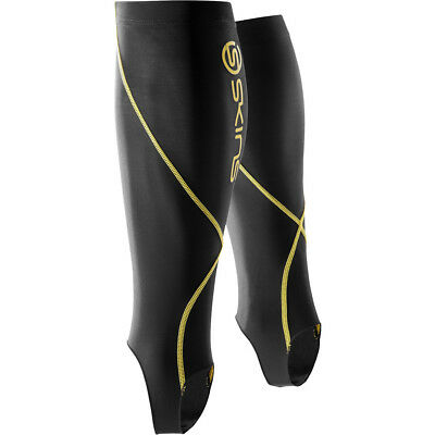 Skins NEW Mx Active Sports Running Adult Black Yellow Compression Calf Tights