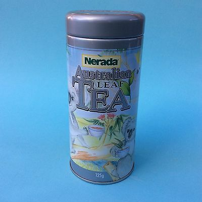 AUSTRALIAN LEAF TEA TIN NERADA QUEENSLAND KOALA Cylinder (empty) Collectible