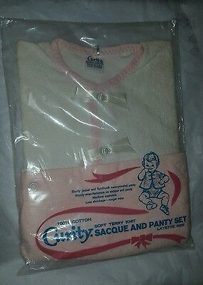 Curity Baby Sacque & Panty Pj Romper2 Piece Set Outfit Layette Sz Diaper Cover