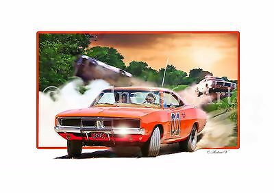 A4 size The Dukes Of Hazzard Original 3D Style Art Print