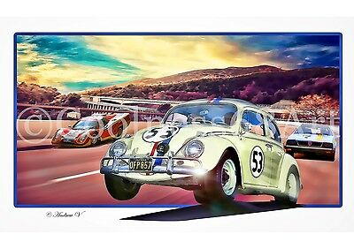 A4 size Herbie Goes To Monte Carlo 3D Style Original Art Print