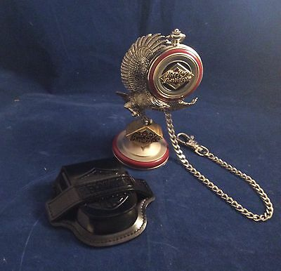 Harley Davidson Pocket Watch 1998 Electra Glide NIB with Stand & Leather Pouch