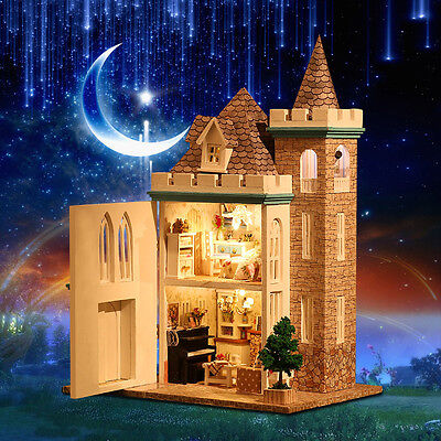 New Dollhouse Miniature Kit Dolls House With Furniture LED Moonlight Castle DIY