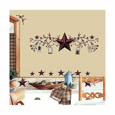 RoomMates RMK1276SCS Country Stars and Berries Peel & Stick Wal... Free Shipping