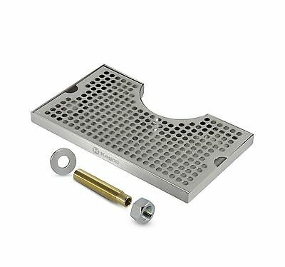 """Beer Drip Tray Stainless Surface Mount 3"""" Column Cut-Out w/ Dra... Free Shipping"""