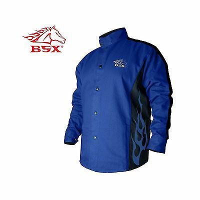 BSX Flame-Resistant Welding Jacket - Blue with Blue Flames Size... Free Shipping