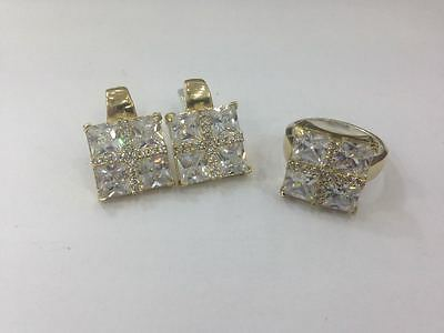925 Silver Handmade Jewelry Fabulous White Topaz Earring And Ring Set