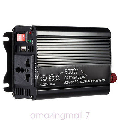 Modified Sine Wave Inverter 500W Car Power Inverter 12VDC to 220VAC Solar System