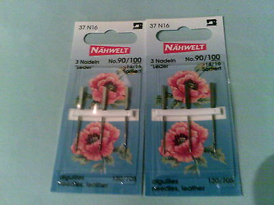 2 PACKS GERMAN SEWING MACHINE NEEDLES 130/705L FOR LEATHER, VINYL, PVC, n/149/2