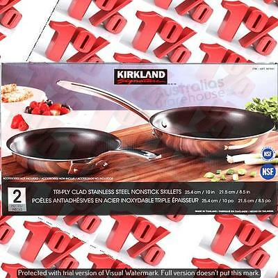 1x Kirkland Signature SS Non-Stick Skillets - Set of 2 * 21.5 CM & 25.4 CM