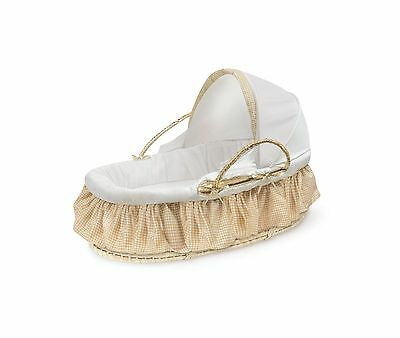 Badger Basket Natural Moses Basket with Fabric Canopy Beige Gin... Free Shipping