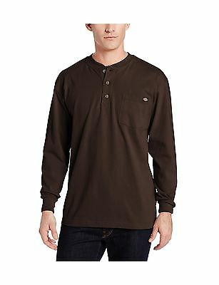 Dickies Men's Long Sleeve Heavyweight Henley Chocolate Brown XX... Free Shipping