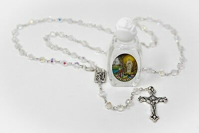 Bottle of Lourdes Holy Water & Crystal Rosary Beads Catholic Gift FROM LOURDES