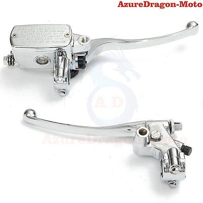 "Chrome Dirt Bike Aluminum 7/8"" Hydraulic Brake Master Cylinder Clutch Lever"