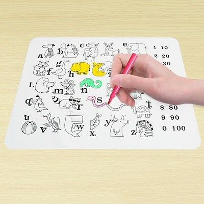 Portable Silicone Clear Kid Water Drawing Painting Writing Pad Eat Mat & 12 Pens