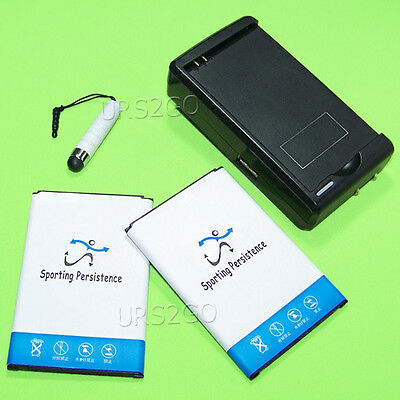 2x 5780mAh High Power Battery Charger Stylus for Samsung Galaxy Note 3 III N900T