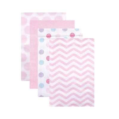 Luvable Friends Flannel Receiving Blankets Pink Dots 4 Count Free Shipping