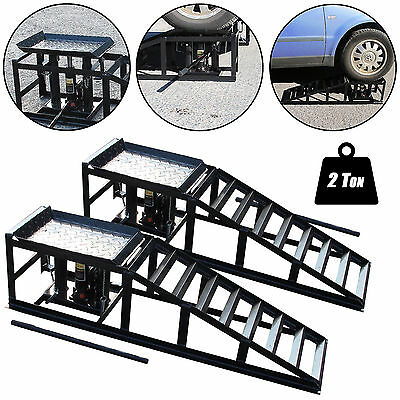 Tech7 Vehicle Car Ramp Lift 2 Ton Hydraulic Jack Garage Heavy Duty Black Pair