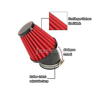 Red 42MM Red Air Filter Pod 45 Degree Bend For Motorcycle Scooter ATV Suzuki