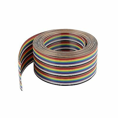 Uxcell IDC Wire Flat Ribbon Cable 30Pin 1.27mm 10Ft Rainbow Color Free Shipping