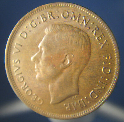 Uncirculated Australian 1943 y Dot Penny Coin Catalogue Value $120  UK-106