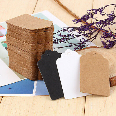 100Pcs 7*4CM Blank Kraft Paper Hang Tags Luggage Wedding Favor Label Gift Cards