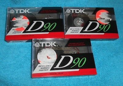 Set of 3 TDK D90 IECI/Type I High Output Audio Tape Blank Cassettes - NEW Sealed
