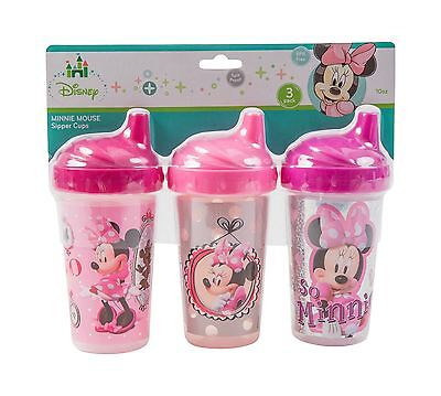 Disney Minnie Mouse Sippy Cups Pink 3 Count Free Shipping