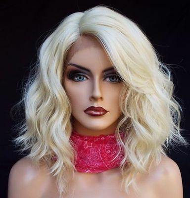 Lace Front Wig Hair Fashion Charm Womens Short Curly Blonde Wavy Full Wigs Heat