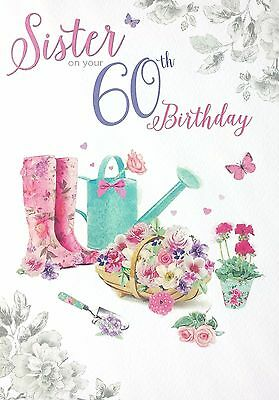 Sister On Your 60th Birthday BEAUTIFUL Happy 60 Card Great Design