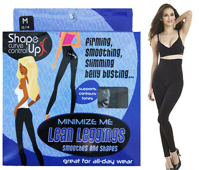 Women Ladies High Waisted Waist Shaper Bum Lift Black Leggings Size S - XXL