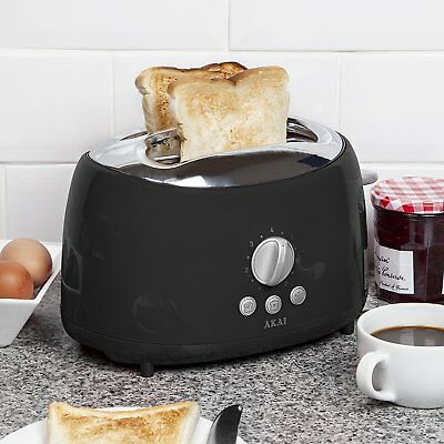 Akai Two Slice Cool Touch Easy to clean Toaster in Black 700 W A20001B