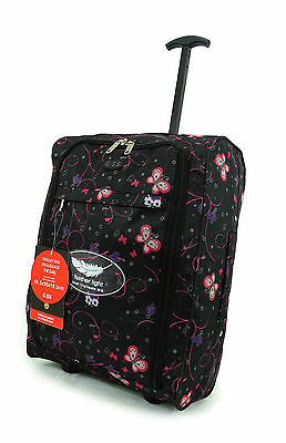 Hand Luggage Suitcase Ryanair Wheeled Trolley  easy-jet Black Flower Butterfly