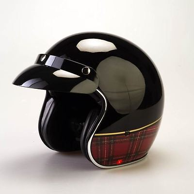 Viper RS-04 Tartan Open Face Motorbike Motorcycle Scooter Crash Helmet Jet Retro