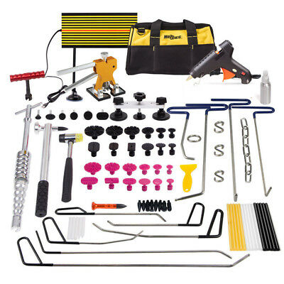 PDR Dent Repair Puller Lifter Rods Removal Hail Paintless Tabs Hammer Tools Kit