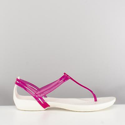 Crocs ISABELLA T-STRAP SANDAL Ladies Womens Comfy Gladiator Sandals Berry/Oyster