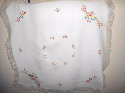 Vintage hand embroidered TABLECLOTH white linen&shabby flowers crocheted edge