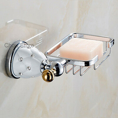 White Cermic Chrome Wall Mounted Bathroom Shower Soap Dish Holder Storage Basket