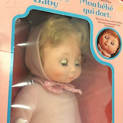 Fisher Price My Sleepy Baby Doll In Original Box with Bunny VTG 19 inches USA