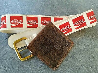 Vintage Advertising Drink Coca Cola Coke Leather Wallet & Belt Old Estate Find