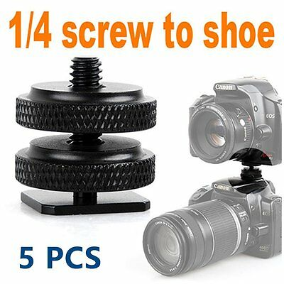 "5X Type 1/4""-20 Tripod screw Flash Hot Shoe Adapter For Canon Nikon Pentax Fuji"