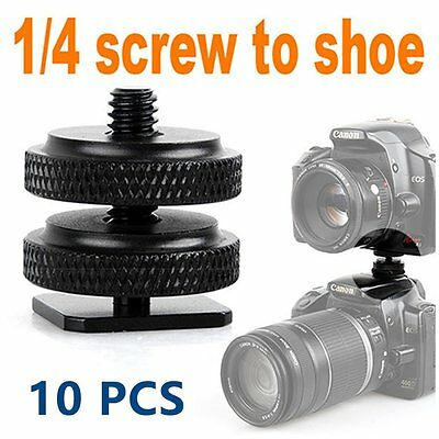 "10X Type 1/4""-20 Tripod screw Flash Hot Shoe Adapter For Canon Nikon Pentax Fuji"