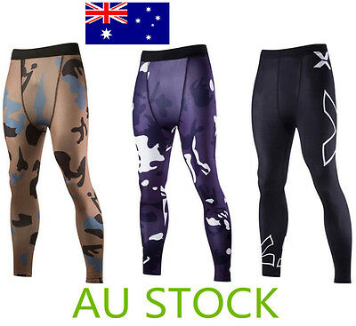 Mens Sports Gym Skin Tights Trousers Compression Base Pants Athletic Apparel AU