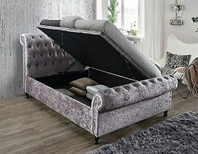 Birlea Castello Side Ottoman Upholstered Fabric Sleigh Bed Double King Super