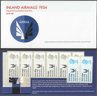 "*Jace* GB 2014 BPMA 1934 Airmail ""Post & Go"" Presentation Pack #24 of 100 RARE!!"