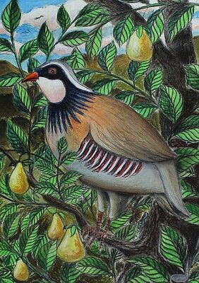 Cecil Riley - Partridge in a Pear Tree, Original Contemporary Pastel Drawing